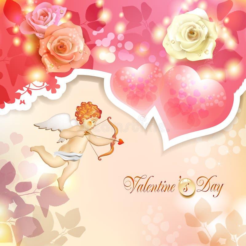 Download Walentynka dnia karta ilustracja wektor. Ilustracja złożonej z złoto - 28956071