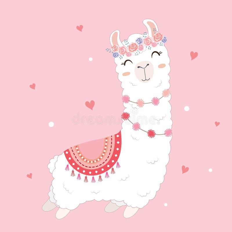 Walentynka dnia karta uwypukla ślicznej lamy royalty ilustracja