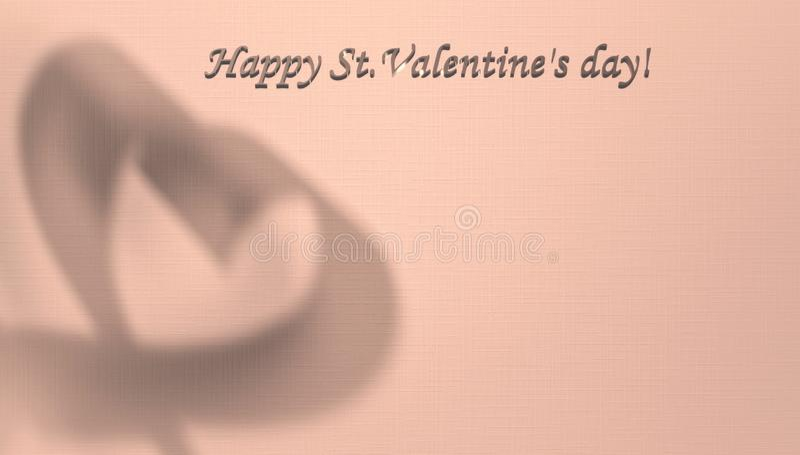 Walentynka dnia karta z kopii przestrzenią dla twój teksta Cień serce w tle z przestrzenią dla gratulacji, ilustracja wektor
