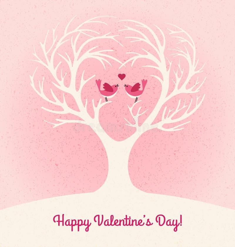 Walentynka dnia karta z sercem kształtował drzewa i 2 lovebirds royalty ilustracja