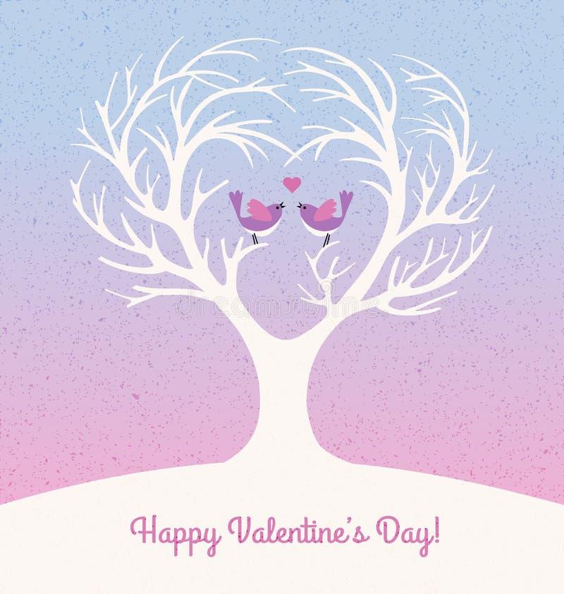 Walentynka dnia karta z sercem kształtował drzewa i 2 lovebirds ilustracja wektor