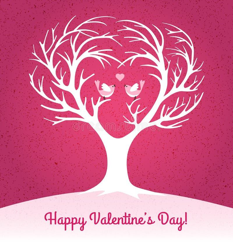 Walentynka dnia karta z sercem kształtował drzewa i 2 lovebirds ilustracji