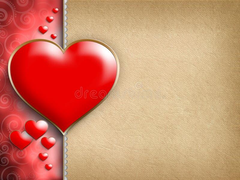 Walentynka dnia kartka z pozdrowieniami - czerwoni serca ilustracja wektor