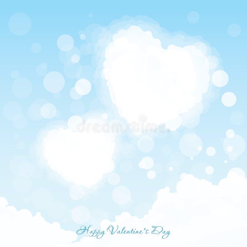 Walentynka dnia kartka z pozdrowieniami Dwa serca w niebie ilustracji
