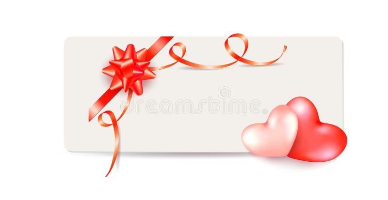 Walentynka dnia kartka z pozdrowieniami z parą serca i błyszczący czerwony łęk z kędzierzawymi faborkami ilustracja wektor