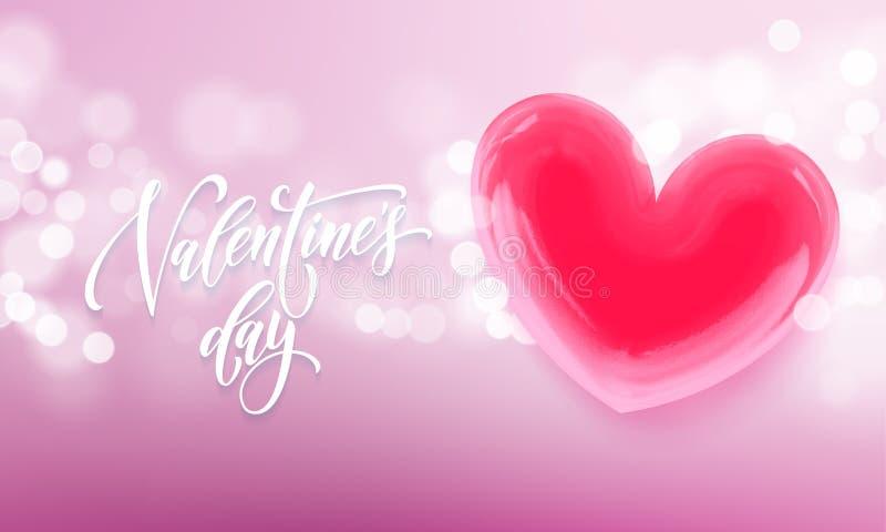 Walentynka dnia kartka z pozdrowieniami valentine czerwony krystaliczny serce na menchii światła połysku tle Wektorowy Szczęśliwy ilustracji