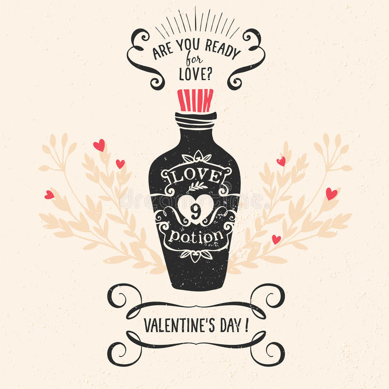 Walentynka dnia kartka z pozdrowieniami z literowaniem ilustracja wektor
