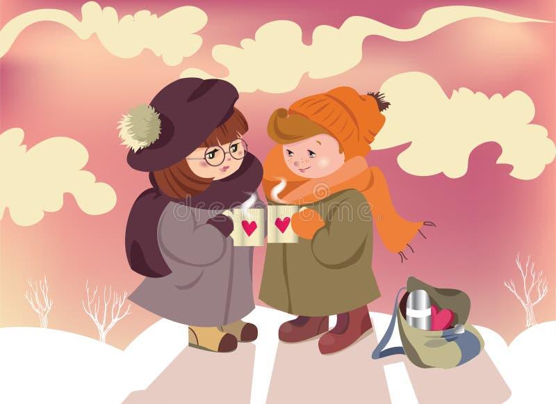 Walentynka dnia karty para w miłość dzieciach ilustracji