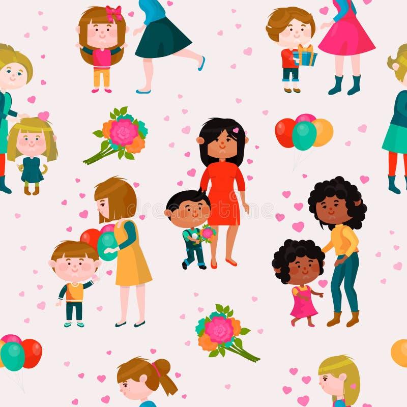 Walentynka dnia matek dnia mamy i dzieciaka valentine wektorowa kochająca rodzinna urocza kierowa dziewczyna chłopiec przytulenie royalty ilustracja