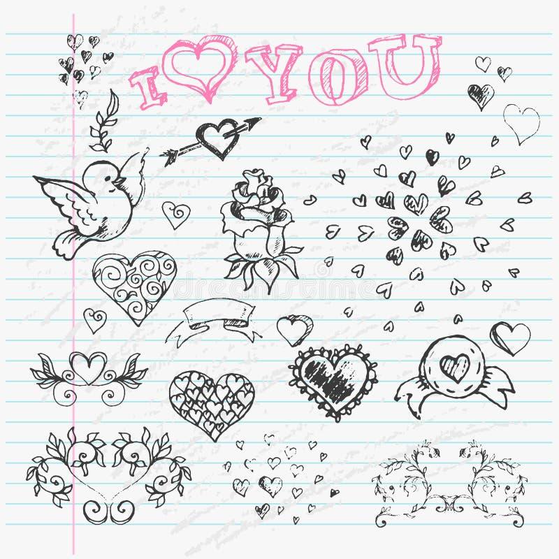 Walentynka dnia miłości & serca nakreślenia notatnika projekt ilustracja wektor