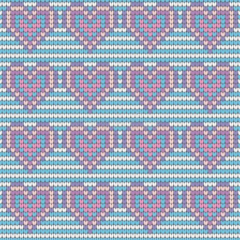 Walentynka dnia miłości serca trykotowy bezszwowy wzór Tekstury w błękita, menchii i bielu kolorach, również zwrócić corel ilustr ilustracja wektor