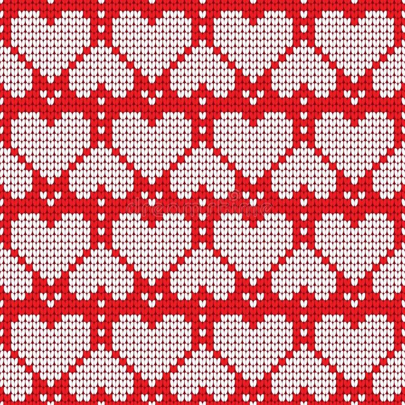 Walentynka dnia miłości serca trykotowy bezszwowy wzór Tekstury w czerwonych i bielu kolorach również zwrócić corel ilustracji we ilustracja wektor