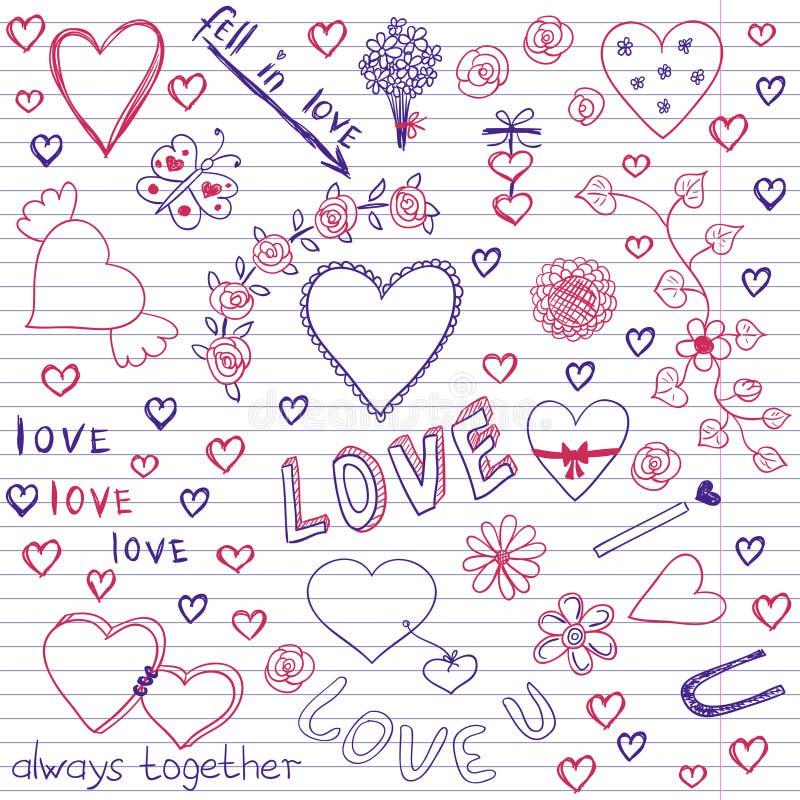 Walentynka dnia miłości & serce notatnika Szkicowi Doodles ilustracja wektor