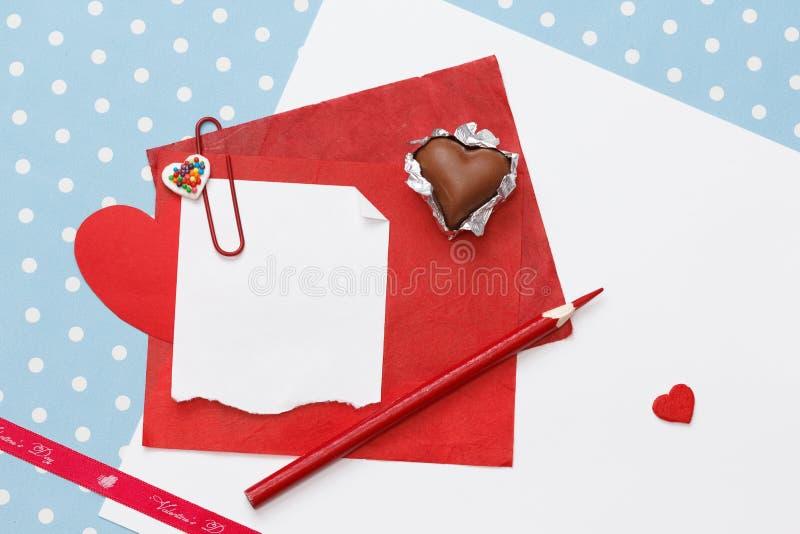 Walentynka dnia miłości wiadomość, niedokończona obrazy royalty free