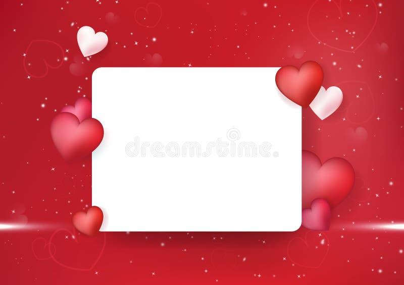 Walentynka dnia pocztówka, zaproszenia serce, dekoracji tła wektoru świąteczna wakacyjna luksusowa abstrakcjonistyczna ilustracja royalty ilustracja