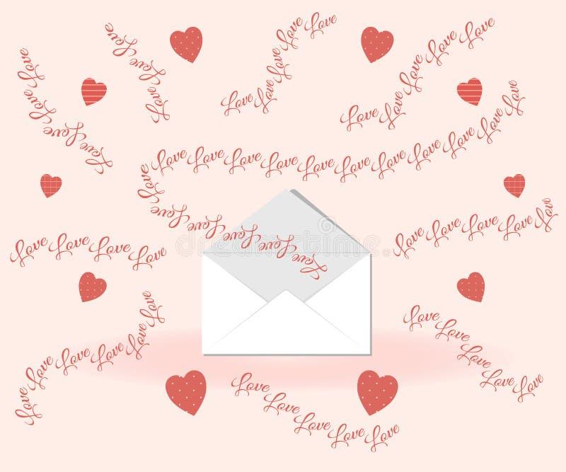 Walentynka dnia pojęcie: miłość pisze list komarnicy z koperty na różowym tle otaczającym oryginalnymi sercami w polek kropkach ilustracji