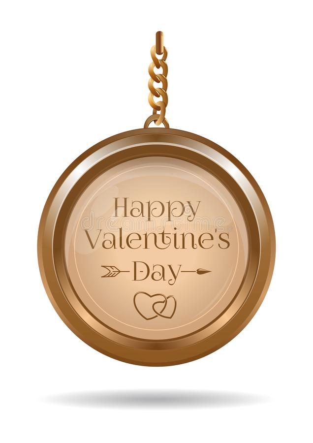 Walentynka dnia projekt z złocistym medalionem na łańcuchu royalty ilustracja
