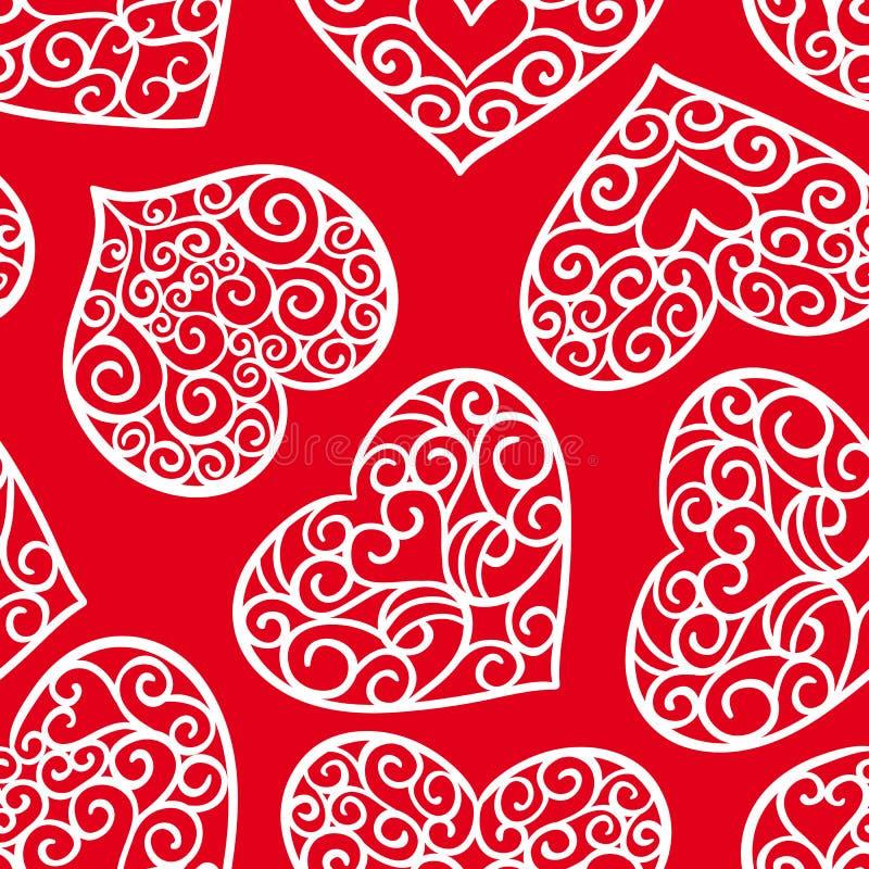 Walentynka dnia rocznika bezszwowy wzór na czerwonym tle royalty ilustracja