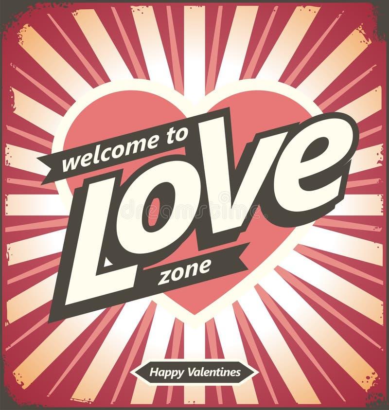 Walentynka dnia rocznika cyny znak ilustracja wektor