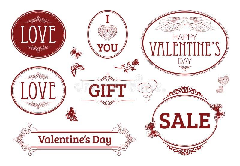 Walentynka dnia rocznika sztandary, etykietki royalty ilustracja