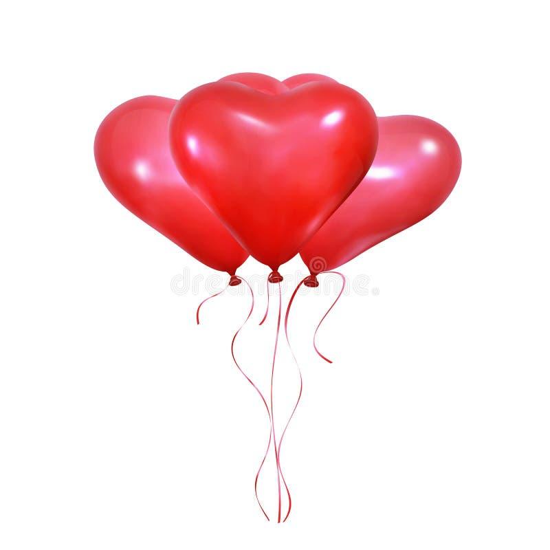Walentynka dnia serca balony Set realistyczni helowi balony kierowy kształt i faborki Poślubiać i walentynki balony royalty ilustracja