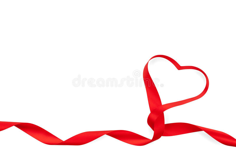 Walentynka dnia serca kształtny czerwony faborek obraz royalty free