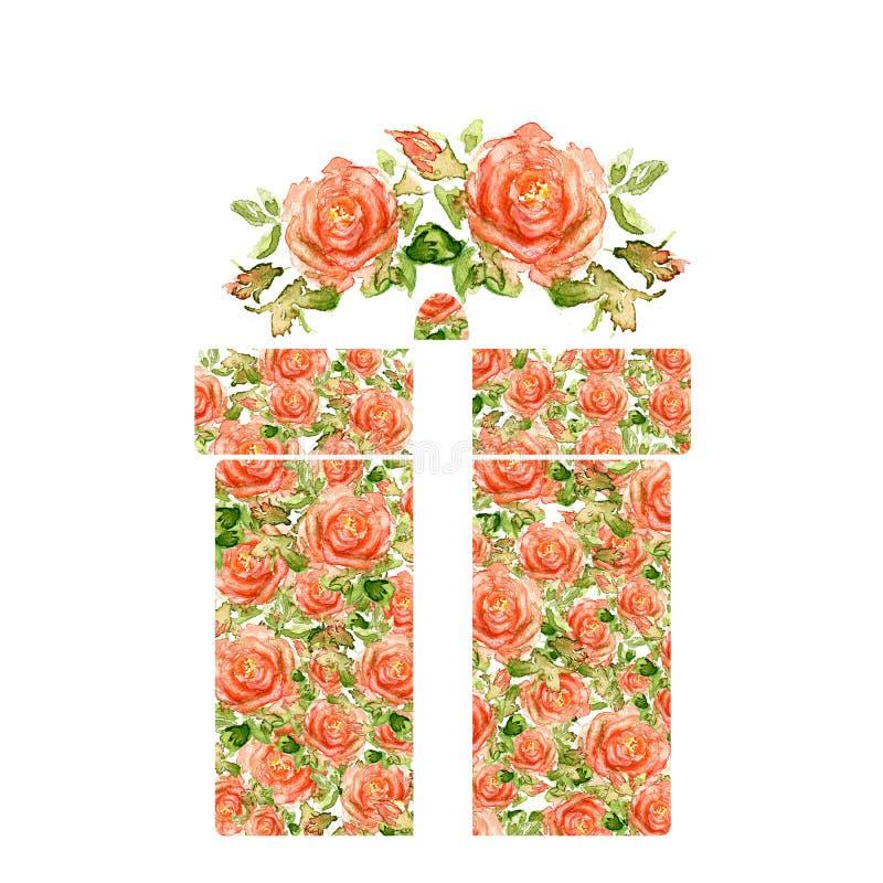 Walentynka dnia serce Robić akwareli róże zdjęcie stock