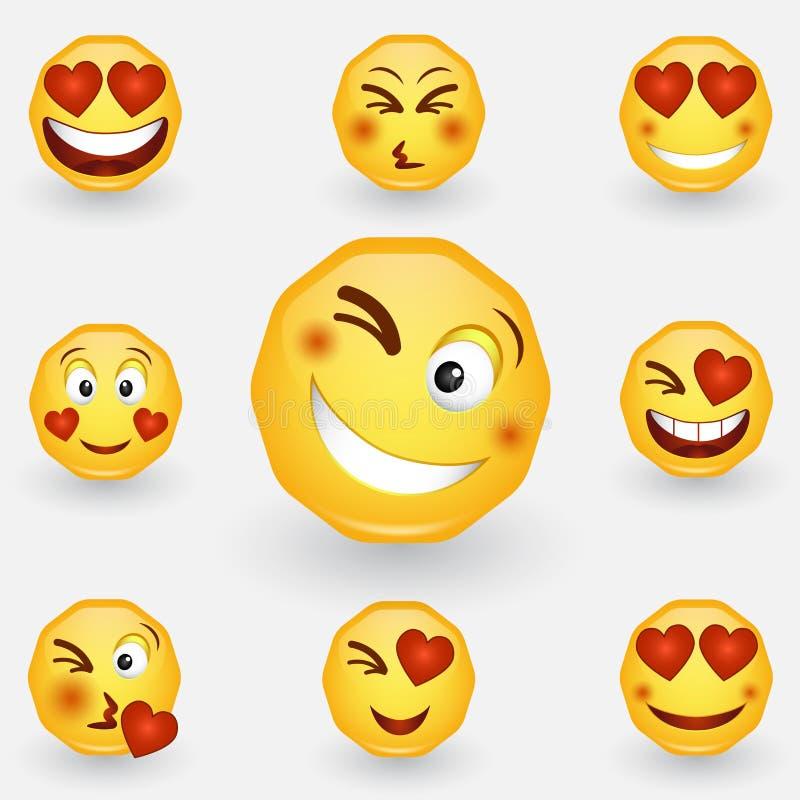 Walentynka dnia smiley Emoji z sercem Miłość, Luty 14 Uśmiech w miłości emoticon Emoji w miłości Śmieszna kreskówki Emoji ikona royalty ilustracja