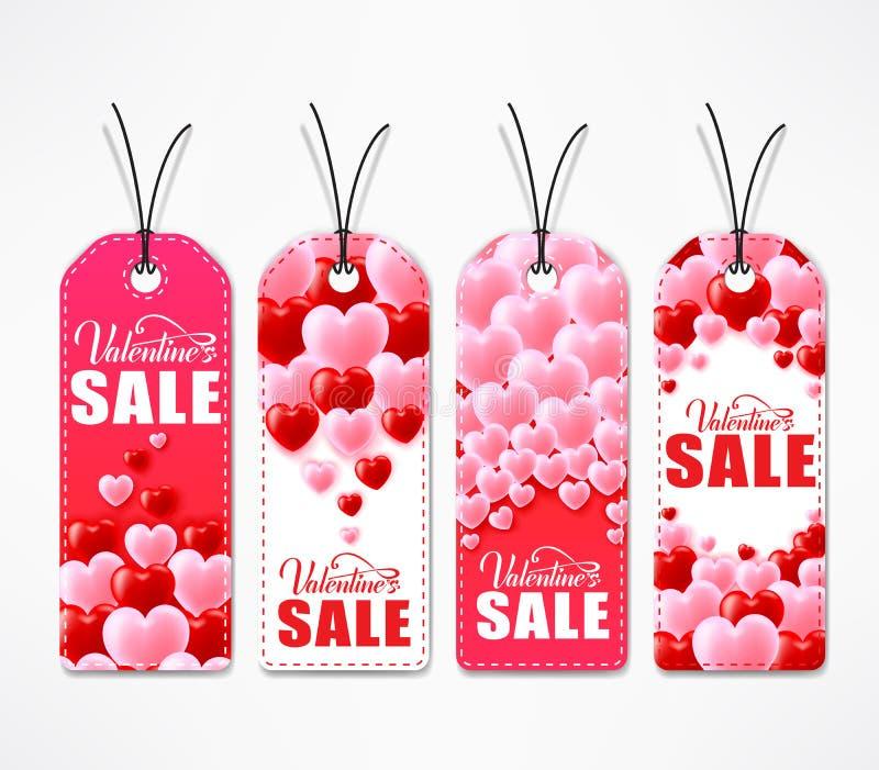 Walentynka dnia sprzedaży Kreatywnie etykietki W Czerwonym I Białym kolorze ilustracja wektor