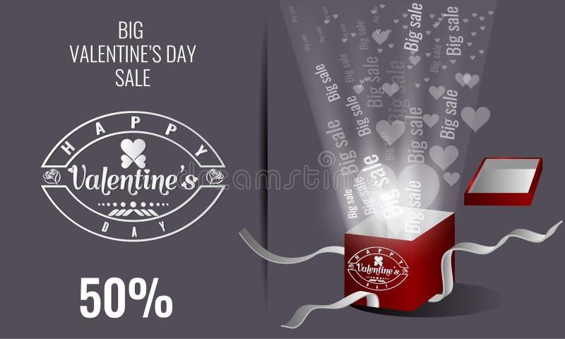 Walentynka dnia sprzedaży literowanie Prezenta pudełko i serce cząsteczki światło ilustracja wektor