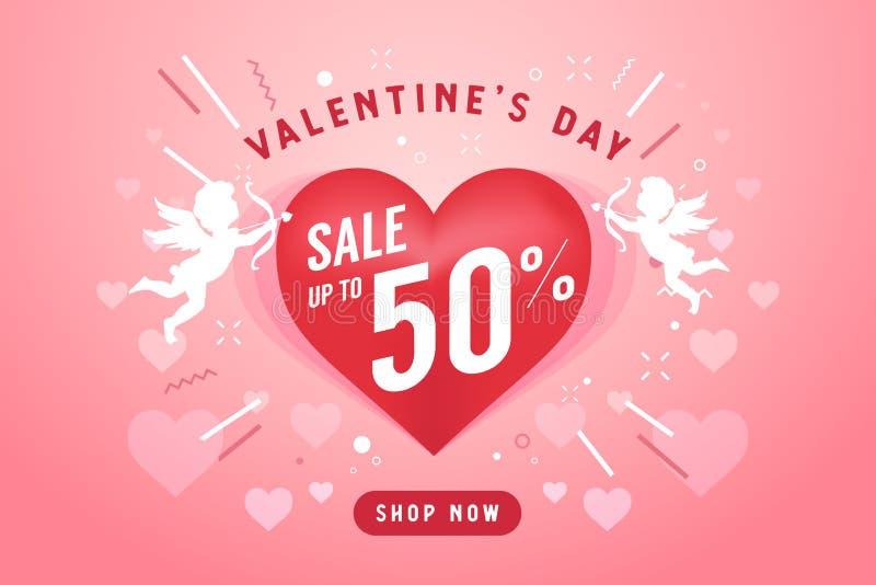 Walentynka dnia sprzedaży sztandaru projekta szablon 50% z dyskontowego promocyjnego sprzedaż sztandaru royalty ilustracja