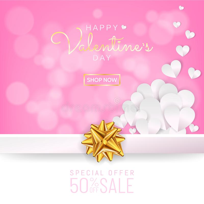 Walentynka dnia sprzedaży tło, kartka z pozdrowieniami papieru rżnięta kierowa dekoracja royalty ilustracja