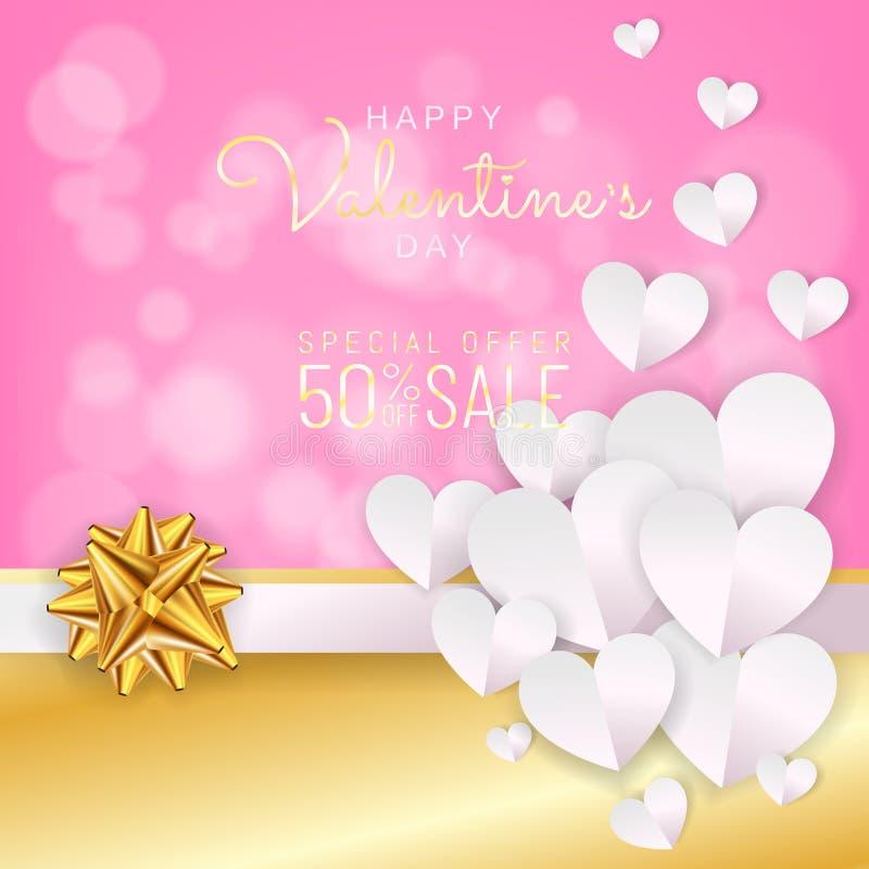 Walentynka dnia sprzedaży tło, rabat karta, wita papier rżniętą kierową dekorację royalty ilustracja