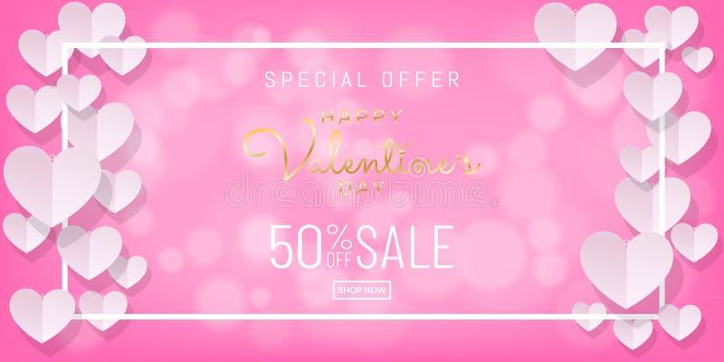 Walentynka dnia sprzedaży tło z papercut, papierowy sztuka styl na różowym tle ilustracja wektor