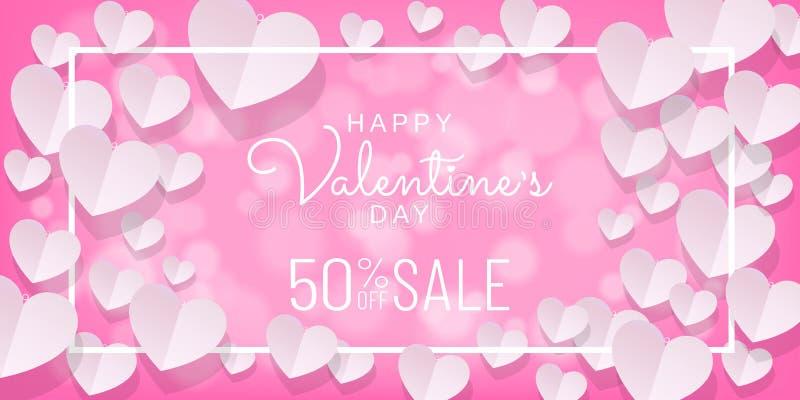 Walentynka dnia sprzedaży tło z papieru cięciem, papierowy sztuka styl na różowym tle royalty ilustracja
