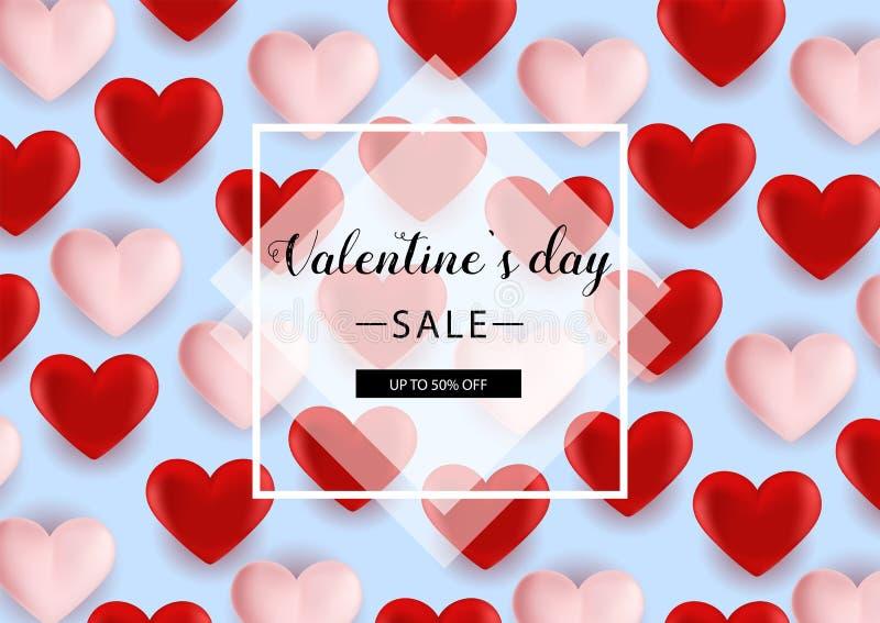 Walentynka dnia sprzedaży tło z sercem Kształtującym Szybko się zwiększać również zwrócić corel ilustracji wektora ulotki, zapros ilustracja wektor