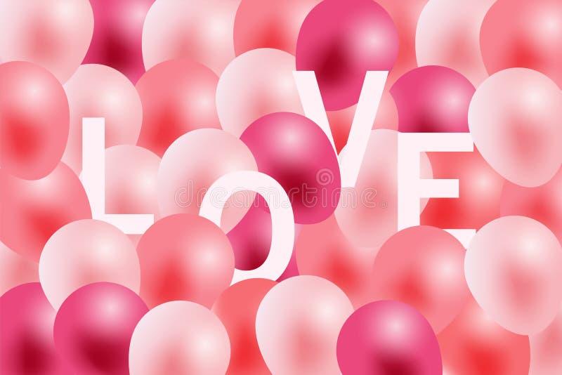 Walentynka dnia tło, witający w białej księdze i menchia faborku z latać realistycznych balony ilustracja wektor
