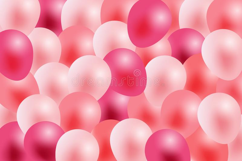 Walentynka dnia tło, witający w białej księdze i menchia faborku z latać realistycznych balony ilustracji