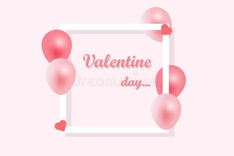 Walentynka dnia tło, witający w białej księdze i menchia faborku z latać realistycznych balony Wektorowa ilustracja, menchia ilustracji