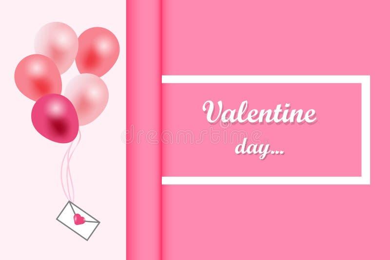 Walentynka dnia tło, witający w białej księdze i menchia faborku z latać realistycznych balony Wektorowa ilustracja, menchia royalty ilustracja