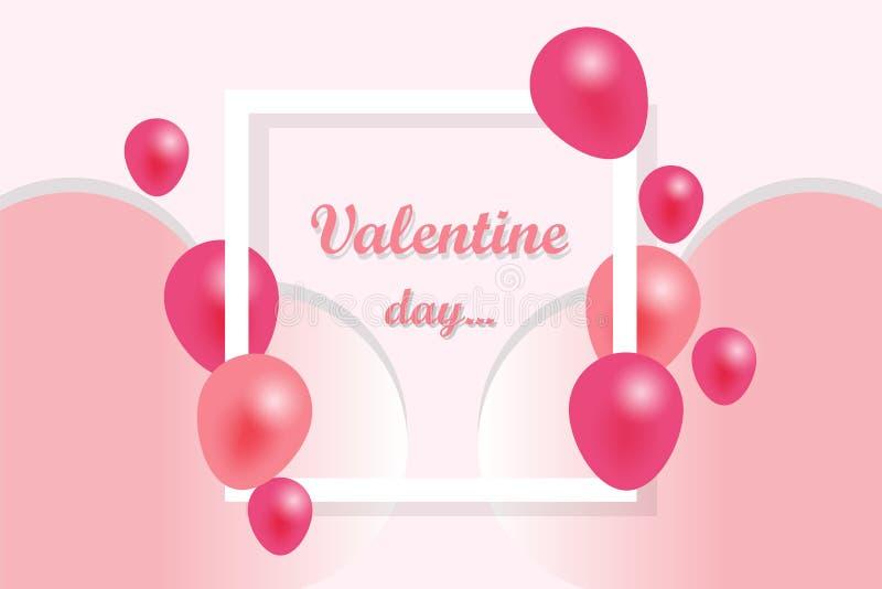 Walentynka dnia tło, witający w białej księdze i menchia faborku z latać realistycznych balony Wektorowa ilustracja, menchia ilustracja wektor