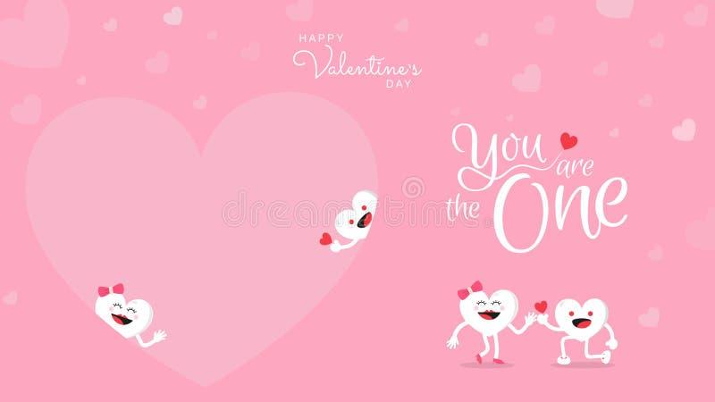 Walentynka dnia tło z śliczną kierową kreskówką i kaligrafia Ty jesteś jeden royalty ilustracja