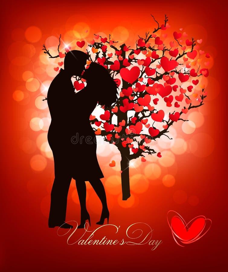 Walentynka dnia tło z całowanie pary sylwetką ilustracja wektor