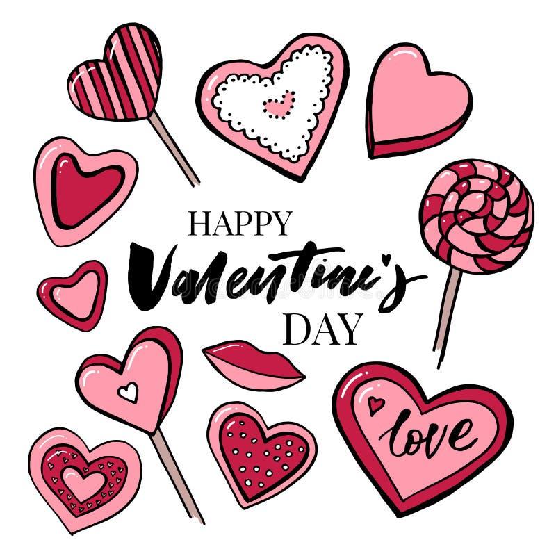Walentynka dnia teksta miłość Wektorowa akwarela ustawiająca elementy dla walentynki ` s dnia Scrapbook projekta elementy typogra royalty ilustracja