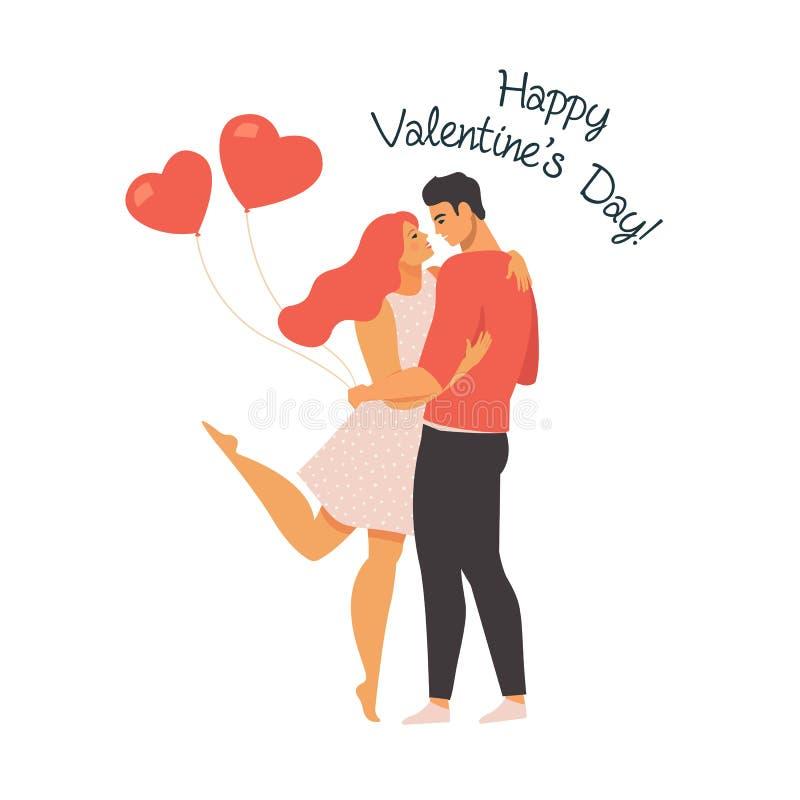 Walentynka dnia wektorowa ilustracja z potomstwami dobiera się w miłości Chłopak, dziewczyny uściśnięcie i uśmiech i Śliczni koch ilustracji