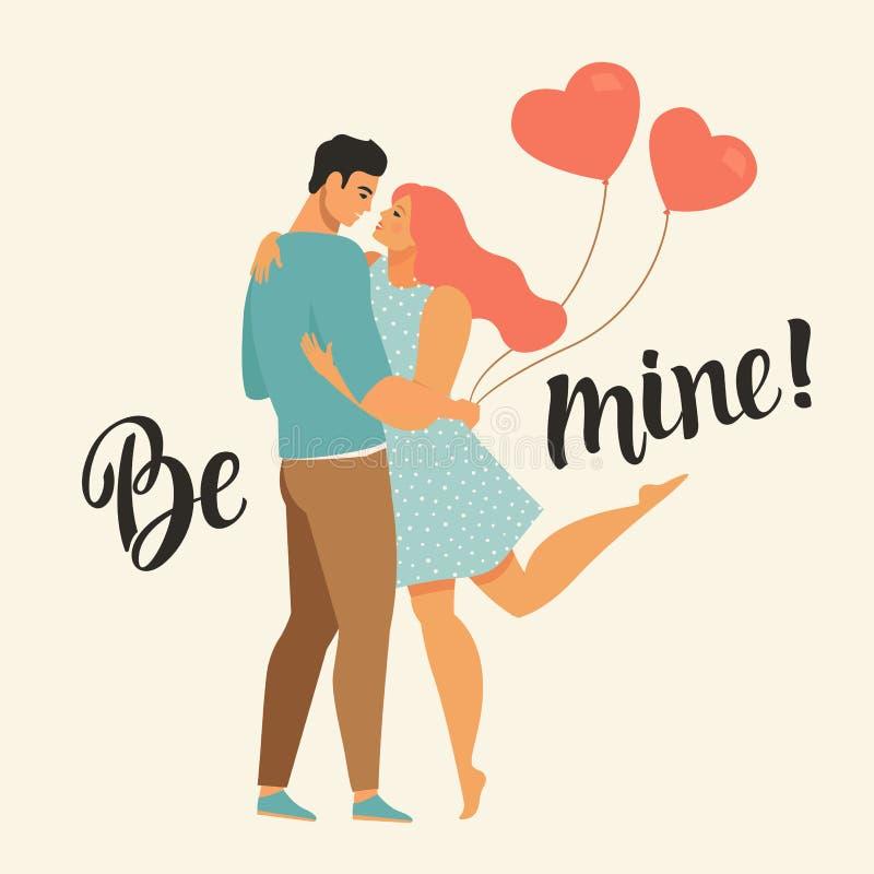 Walentynka dnia wektorowa ilustracja z potomstwami dobiera się w miłości Chłopak, dziewczyny uściśnięcie i uśmiech i Śliczni koch ilustracja wektor