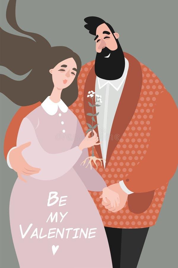 Walentynka dnia wektorowa kartka z pozdrowieniami z śliczną parą royalty ilustracja