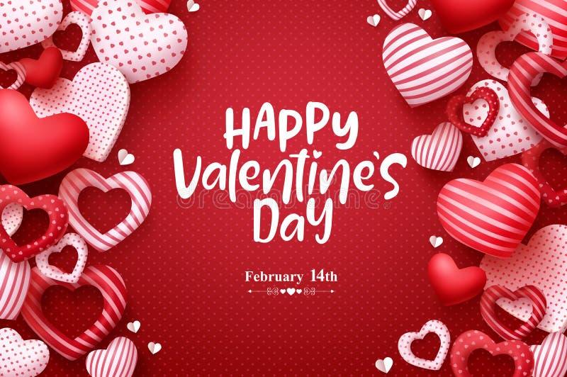 Walentynka dnia wektoru kartka z pozdrowieniami Szczęśliwy valentines dnia tekst z serce elementami w czerwień wzoru tle royalty ilustracja