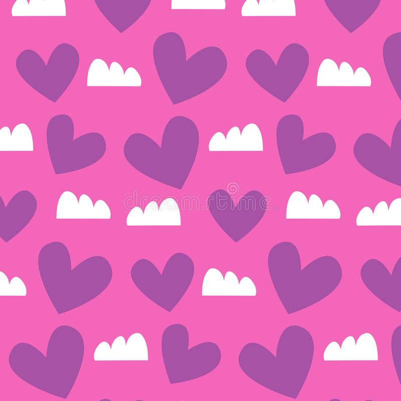 Walentynka dnia wzór z purpurowym sercem wektorowa projekt ilustracja ilustracja wektor