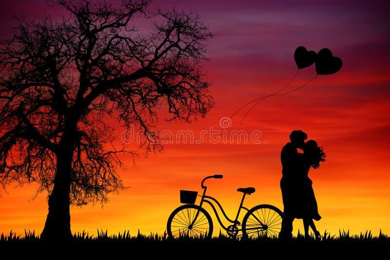 Walentynka dnia zmierzchu tło z parą i drzewem ilustracja wektor